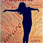 woman surrounded by different words such as grateful, present aware