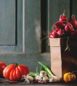Fresh produce and bag on doorstep