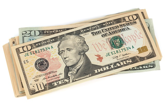 10 and 20 dollar bills