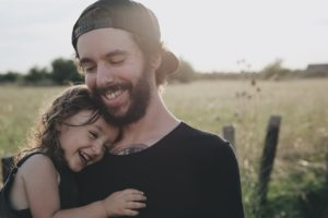 Father and daughter enjoying nature