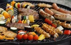 grilling healthy meal on grill