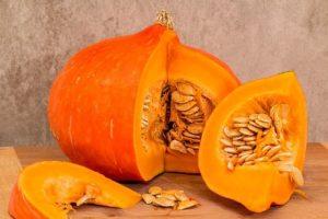Pumpkin cut to show seeds