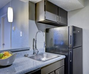 Clean kitchen, sink, counters, cabinets and refrigerator