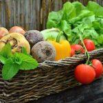 Wicker basket filled with fresh garden vegetables