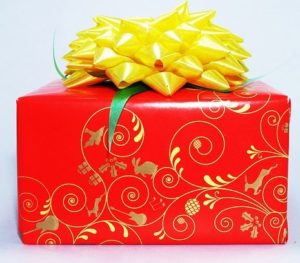 gift wrapped in red paper