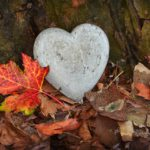 heart stone set in fall leaves