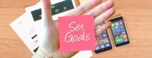 pink set goals note