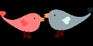 Cartoon love birds in conversation