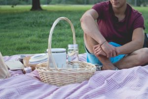 picnic with water and snacks separated
