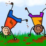 children moving more by doing cartwheels in the mud
