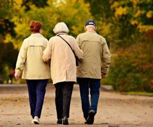 Backs of three elderly people walking arm-in arm down a road