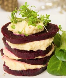 4 slices of beets and cheese stacked