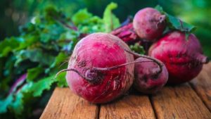 Beetroots on picnic table