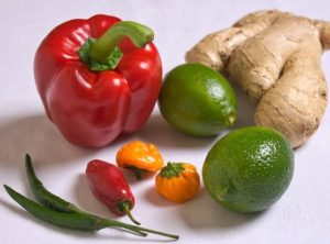 peppers, ginger and lime