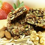 Granola bar filled with nuts