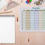 Schedule, paper, pencils to create a weekly schedule