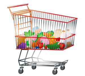 Shopping cart with produce and milk