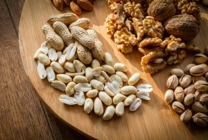 Variety of mixed nuts on a tray