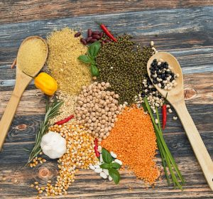 legums, grains, spices, garlic, basil