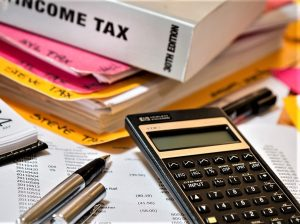 income tax materials, calculator files, and pencils