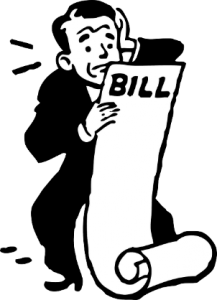 man looking distressed looking at a large bill