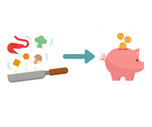 piggy bank and healthy food