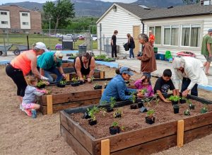 Families working together in a community garden