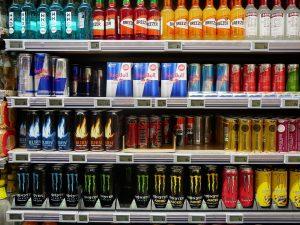 energy drinks on shelves