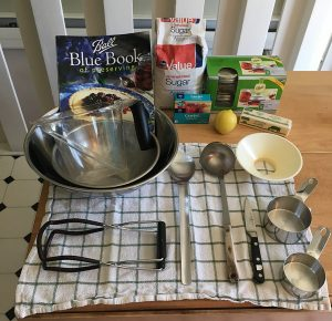 bowls, cookbook, measuring cups, jar lifter, knife, spoon, ladel, funnel, butter, lemon, pectin, jars and sugar